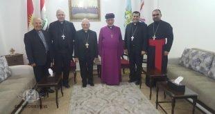 قداسة البطريرك مار كيوركيس الثالث صليوا يستقبل غبطة البطريرك مار لويس روفائيل ساكو